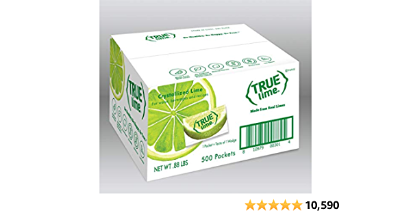 TRUE LIME Water Enhancer, Bulk Pack (500 Packets)   Zero Calorie Unsweetened Water Flavoring   For Water, Bottled Water & Recipes   Water Flavor Packets Made with Real Limes