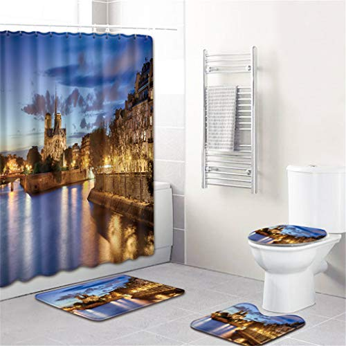 Toaimy Non-Slip 4 Piece Set Notre Dame de Paris Bathroom Toilet Seat Cover and Rug Shower Curtain Kitchen Bedroom Doormat