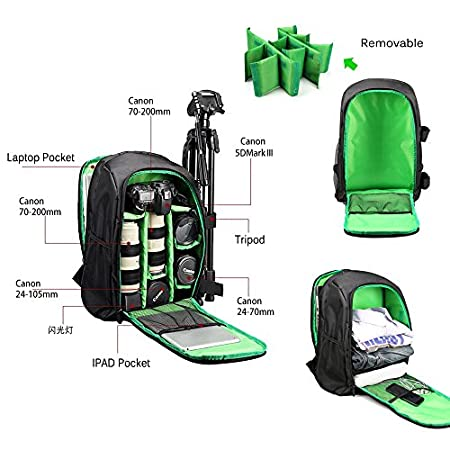 Flash and Other Accessories Computer Green iVotre Nylon Waterproof DSLR SLR Camera Backpack For Nikon Canon Laptop Rucksack with Tripod Holder for Men/&Women to hold Camera