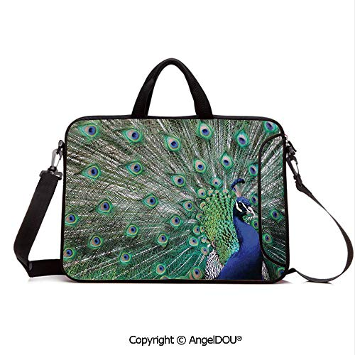AngelDOU Waterproof Laptop Sleeve Bag Neoprene Carrying Case with Handle & Strap Peacock Displaying Elongated Majestic Feathers Open Wings Picture for Women &Men Work Home Office Navy Blue Green Lig