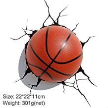 hotcoser® Basket-Ball Crack Sticker Kids/Sports Wall Decoration 3D Deco Wall LED Night Light Art FX Room Decor