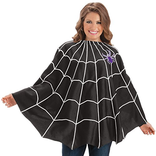 Spooky Spider Web Halloween Poncho, Black, One ()