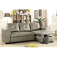 Advanced Modern Convertible Silver Faux Leather Reversible Sectional Sofa Set with Pull-Out Bed