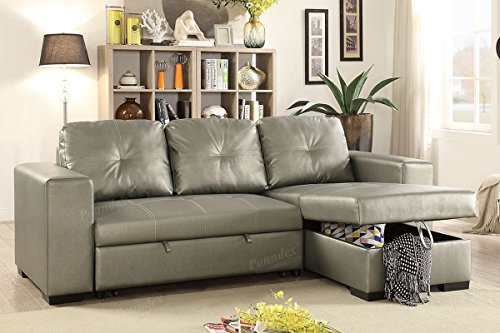 Advanced Modern Convertible Silver Faux Leather Reversible Sectional Sofa Set with Pull-Out Bed by Advanced Furniture