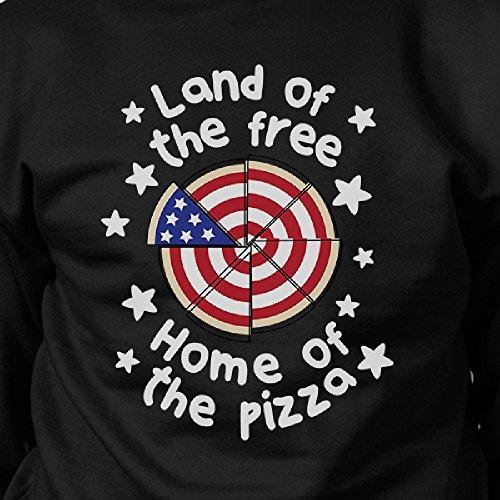 365 Printing - Sudadera - Manga Larga - para mujer Home Of The Pizza Black SweatShirt