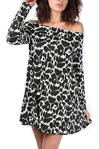 Damen Gepunktet Aufdruck Sommer Schulterfrei Party Swing Glockiges Kleid Damen 50er Style Bardot Blumenmuster Top Monochrom leoparden WK5J5