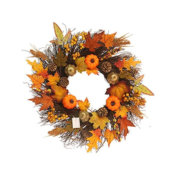 Autumn Wreaths Pumpkin Rattan Berry Maple Leaves Harvest Wreath Thanksgiving Days Garland Wreath Wall Flower Hanging Wreath for Home Window Mall Hotel Christmas Festival Front Door Pendant,18 inch