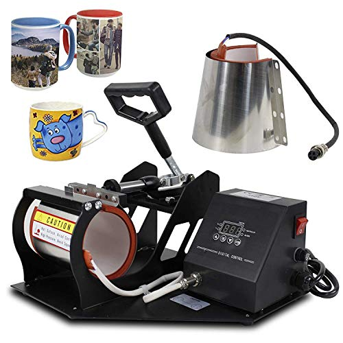 SUPER DEAL PRO 2 in 1 Mug Cup Heat Press Transfer Sublimation Heat Press Machine Coffee Cup Heat Press for Advertising, Gift Purpose (Two Different Stainless Steel Mug Attachments)