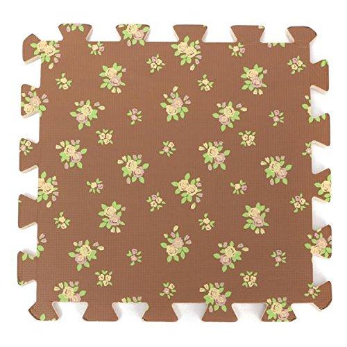 - Puzzle Floor Mat - Foam Floor Mat - 9 Pcs Foam Floor Puzzle Work Gym Mat 6 Pattern Easy Clean Adhesive Wood Floor - Coffee Flower ( Foam Puzzle Mat )