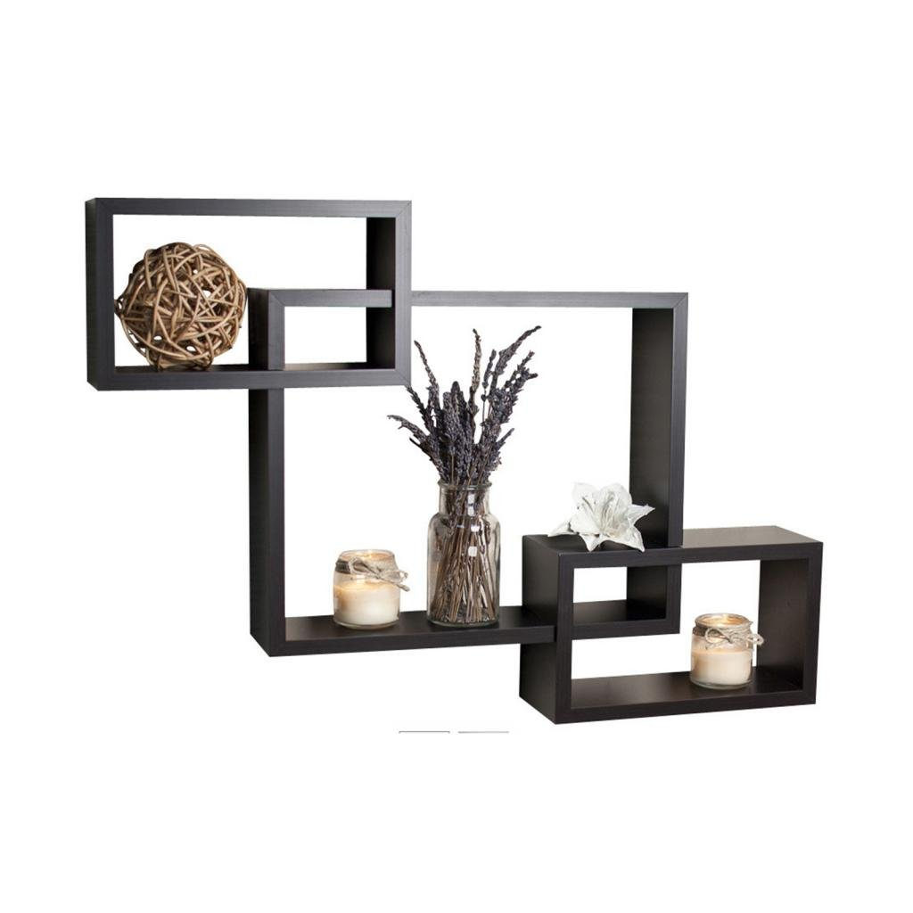 Decornation wall shelf set of 3 rectangular shelves wall dcor decornation wall shelf set of 3 rectangular shelves wall dcor black amazon home kitchen amipublicfo Gallery