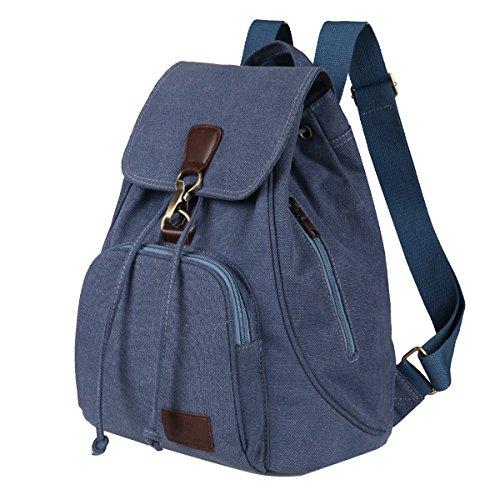 Moda casual mochila retro, si tu mochila portátil de mujeres, bolsas de hombro, mochilas de estudiantes, mochila bolso de libro de escuela, bolsa de cordón mochila con correa de hombro ajustable, muje Azul marino