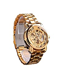 Automatic Mechanical Men Business Watch Luxury Rose Gold Hollow Engraving Steam Designer Watche Full Stainless Steel Dress Wristwatch