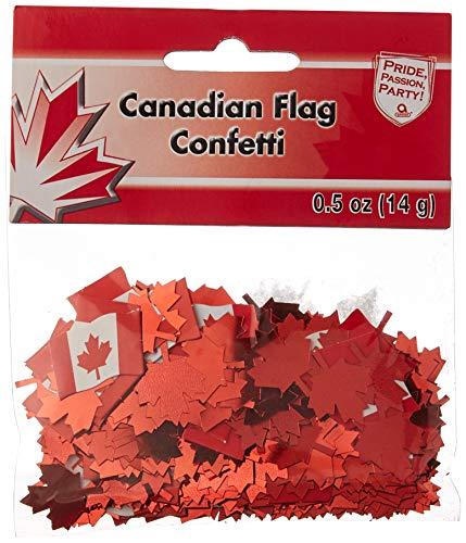 (Amscan 36650 Canadian Flag Printed Confetti, 1/2 oz, Multicolor )