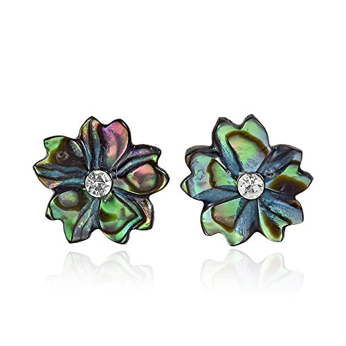 Shimmering Flower Shaped Abalone Shell with Inlaid Cubic Zirconia Stud Earrings