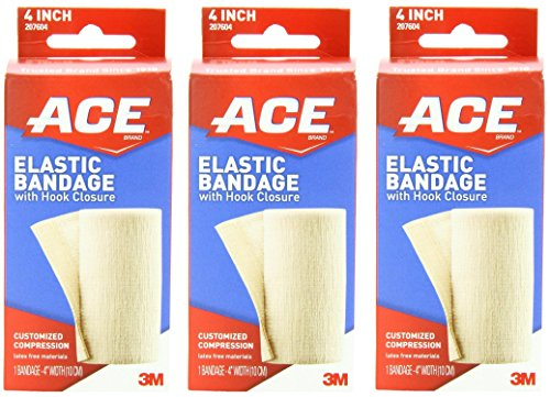 ACE Elastic Bandage with Hook Closure, 4 Inches (Pack of 3) ()