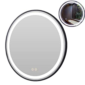 Petus House LED Bathroom Vanity Mirrors, Diameter 24in Smart Bathroom Wall Mount Lighted Mirrors, Black Frame, Dimmable Touch Button Waterproof 6500Kelvin CRI>90 5MM Copper Free Mirrors