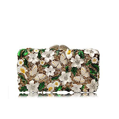 embrayage sac de cristal de luxe diamant creux Sac sac strass fleur de de dîner métallique papillon C de qFxwd1Xa