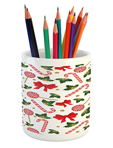 Ambesonne Candy Cane Pencil Pen Holder, Holly Berry Mistleto