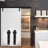 CCJH American Country Flat Style Steel Sliding Barn Door Hardware Interior for Single Door Black(7FT)