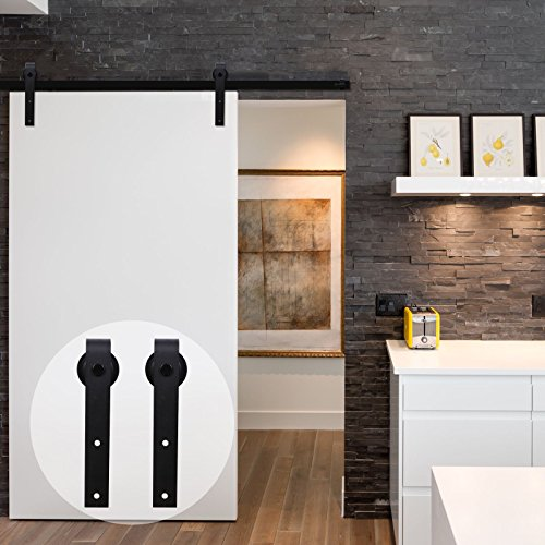 CCJH American Country Flat Style Steel Sliding Barn Door Hardware Interior for Single Door Black(7FT) by CCJH