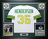 Rickey Henderson Autographed White Oakland A's Jersey - Beautifully Matted and Framed - Hand Signed By Rickey Henderson and Certified Authentic by Fanatics COA - Includes Certificate of Authenticity
