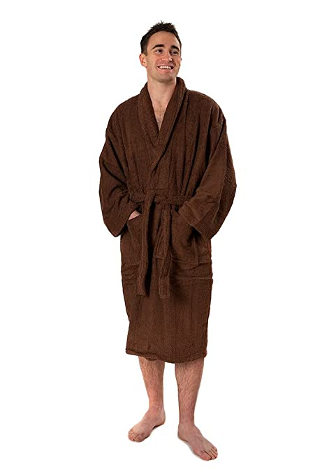 7776f749a3 Value Egyptian Cotton Shawl Collar Unisex Dressing Gown 500gsm Towelling  Medium Large Chocolate  Amazon.co.uk  Kitchen   Home