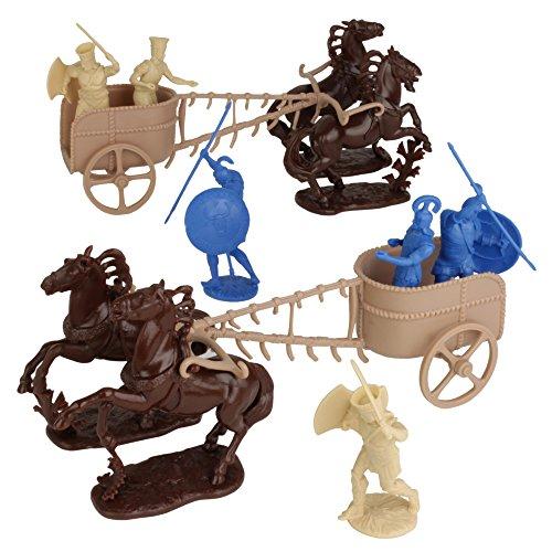 LOD Trojan War Greek vs Trojan Chariot Playset: 12 BLUE TAN 1:30 Plastic Figures