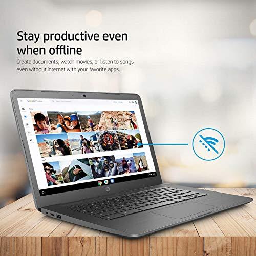 HP Chromebook Intel Core N3350 Processor 14-Inch Thin and Light Touchscreen (4GB/64GB onboard + Additional Cloud storage/256GB Expandable/Chrome OS/Backlit/Chalkboard Grey/1.5kg), 14-ca002TU