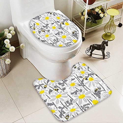 Toilet cushion suit Daisy Flowers with es in Spring Time Hey Petals FlorNature Purity Bloom Non slip, Microfiber Shag, Absorbent, Machine Washable