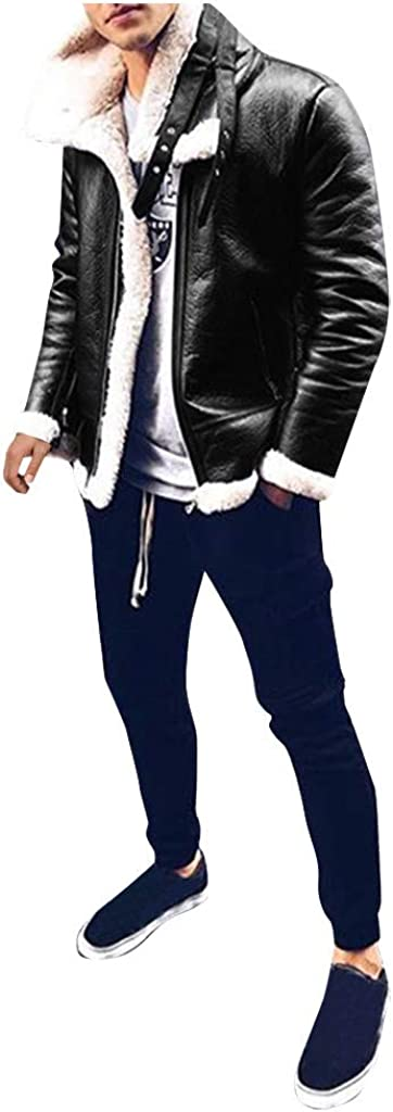 FIRERO Mens Leather Jacket Winter Plus Velvet Lamb Fur Collar Lining Warm Coat Male Zipper Outwear