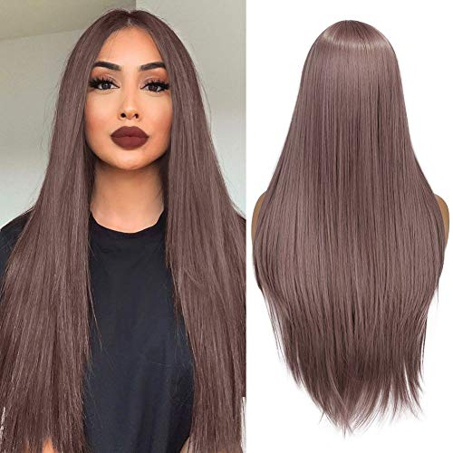 WIGER Long Straight Synthetic Hair Wig Pinkish Purple Color Middle Part Halloween Party Cosplay Daily Heat Resistant Wigs for Women