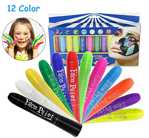 Face Paint Crayons Kit,12 Color No Mess Body Paint Sticks,Safe & Non-Toxic Washable Professional Rainbow Paint for Toddler/Adult/Teen/Kid, Ideal for Halloween/Christmas/Birthday Party/Sport Carnival -