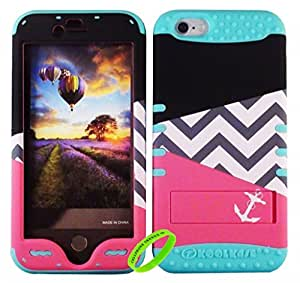 Cellphone Trendz New 3-piece HARD & SOFT RUBBER HYBRID ROCKER HIGH IMPACT PROTECTIVE CASE COVER for Apple iPhone 6 4.7 inch 6th Generation -Black Red Triangle Chevron Anchor Design Hard Case on Mint Blue Silicone