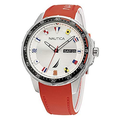 Correa de silicona de cuarzo de acero inoxidable Nautica para hombre, rojo, 22 reloj informal (modelo: NAPCLF002)