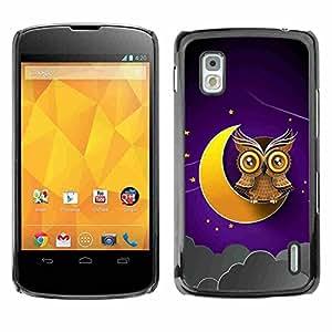 Shell-Star ( Awesome Owl On The Moon ) Fundas Cover Cubre Hard Case Cover para LG Google NEXUS 4 / Mako / E960