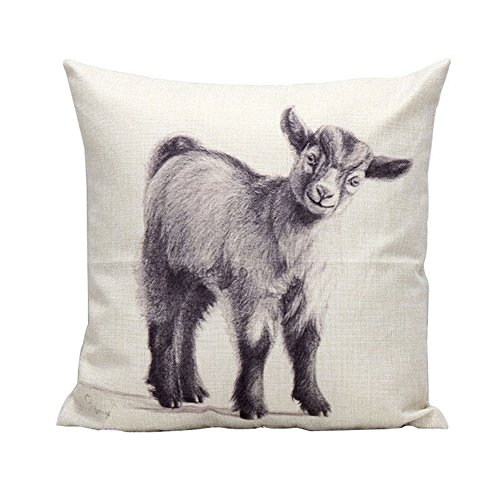 Bon Square Animal Print Cotton Linen Throw Pillow Case Vintage Cushion Cover Home  Decor (Cute Goat)