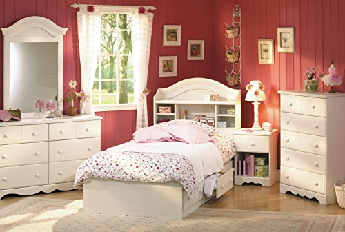 South Shore Summer Breeze Kids Bookcase Bed 4 Piece Bedroom Set  Twin  White  Wash. Girl Bedroom Sets  Amazon com