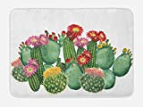 Cactus Bath Mat by Ambesonne, Saguaro Barrel Hedge Hog Prickly Pear Opuntia Tropical Botany Garden Plants Print, Plush Bathroom Decor Mat with Non Slip Backing, 29.5 W X 17.5 W Inches, Multicolor