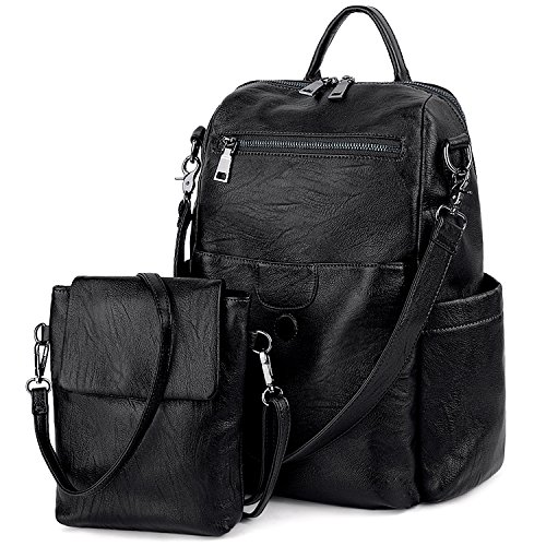 UTO Women Backpack Purse PU Washed Leather Ladies Rucksack Detachable Crossbody Shoulder Bag B Black