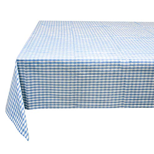 FunLavie Printed Tablecloth Rectangular Tablecloth Overlay for Dinner Parties,Outdoor Picnics-55 x 78 Inches, Oblong Fabric, Light Blue Gingham