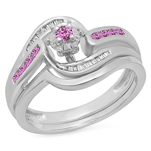 10K White Gold Round & Baguette Cut Pink Genuine Sapphire & White Diamond Bridal Engagement Ring (Pink Sapphire Baguette)