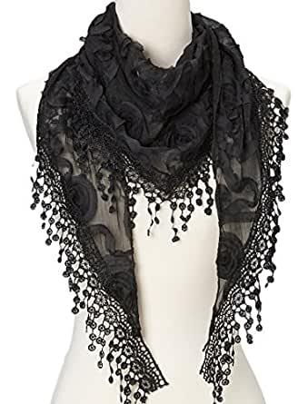 Flower Lace Silk-blend Scarf / Triangle Scarf (Black Flower)