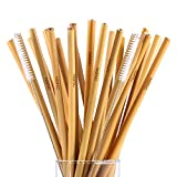 Reusable Bamboo Drinking Straws Eco Friendly Alternative to Plastic Straws zero waste All Natural Sustainable Washable Straws Natural Wood Straws Biodegradable Straws 2 Cleaning brushes set of 24