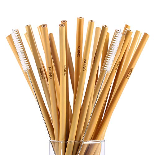 Reusable Bamboo Drinking Straws Eco Friendly Alternative to Plastic Straws zero waste All Natural Sustainable Washable Straws Natural Wood Straws Biodegradable Straws 2 Cleaning brushes set of 24 by NSinc