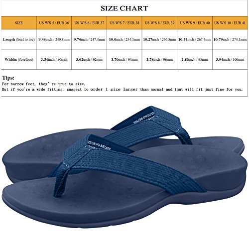 Flip Fasciitis Orthotic Sandal Post Support Navy Flops for Sandals Fit Beach Stylish amp;Co Arch Sessom Narrow Blue Outdoor Toe Plantar Women's with zaxE7wfTq