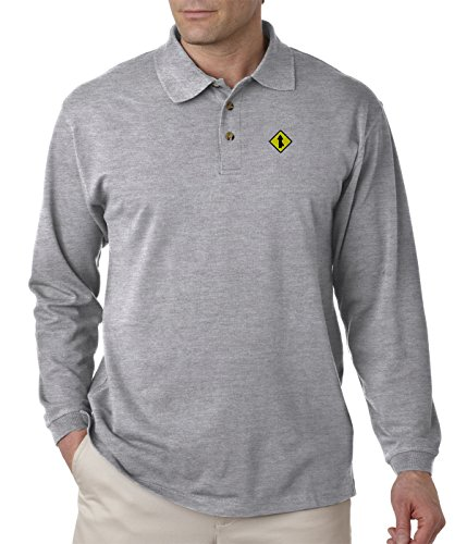 Merge Sign Embroidery Design Adult Button-End Spread Long Sleeve Unisex Cotton Polo Jersey Shirt Golf Shirt - Oxford Grey, 3X Large