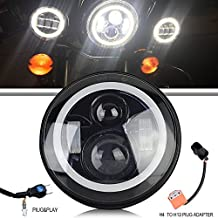 "TURBOSII 7"" LED Headlight Bulk with White Halo Angel Eye Ring DRL & Amber Turn Signal Hi/Lo Beams for Harley Davidson Motorcycle Road King Ultra Classic Softail Heritage Electra Glide Fatboy Street Glide Yamaha Honda"