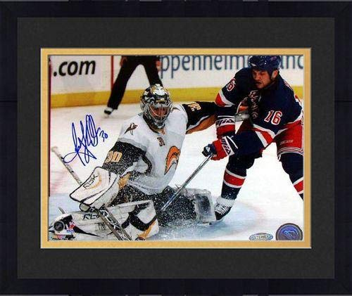 (Framed Ryan Miller Kick Save vs Sean Avery Signed 8x10 Photo - Steiner Sports Certified - Autographed NHL Photos)