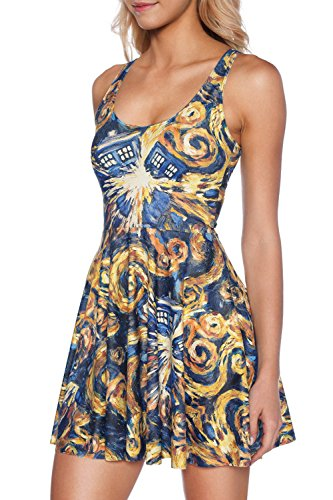 Tardis Halloween Costume (Lady Queen Women's Doctor Who Printed Scoop Reversible Pleated Skater Dress M)