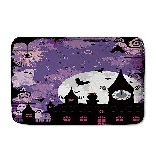 C COABALLA Vintage Halloween Comfortable Door Mat,Halloween Midnight Image with Bleak Background Ghosts Towers and Bats Decorative for Home Office,23